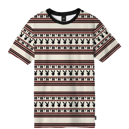 HUF x Playboy Stripe Knit T-Shirt - Burgundy