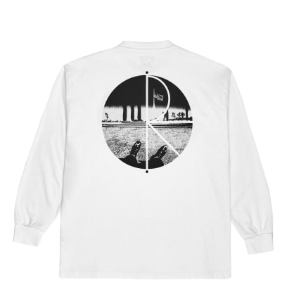 Polar Skate Co Happy Sad Fill Logo Long Sleeve T-Shirt - White
