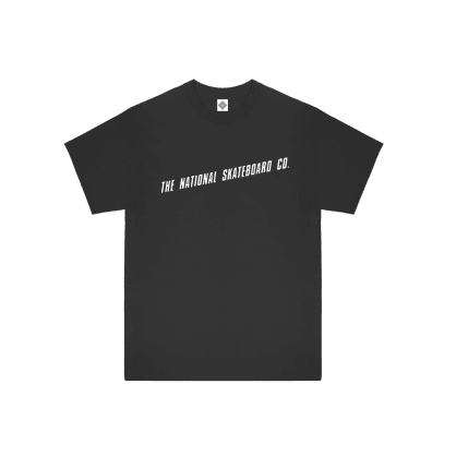 LOGO SLANT SHORTSLEEVE T-SHIRT - BLACK