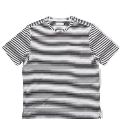 Pop Trading Company Harde Stripe Pocket T-Shirt - Anthracite / White