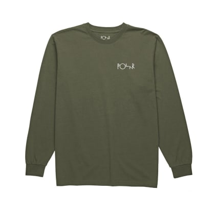 Polar Skate Co. Script Logo Long Sleeve T-Shirt (Olive)