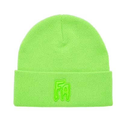 Fucking Awesome FA Applique Cuff Beanie - Neon Green