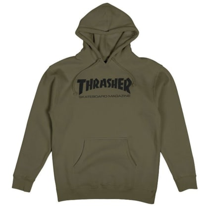 Thrasher Skate Mag Logo Hooded Pullover Sweatshirt (Army)