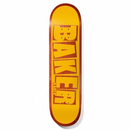 Baker Skateboards Kader Brand Name Yellow/Red Skateboard Deck - 7.875