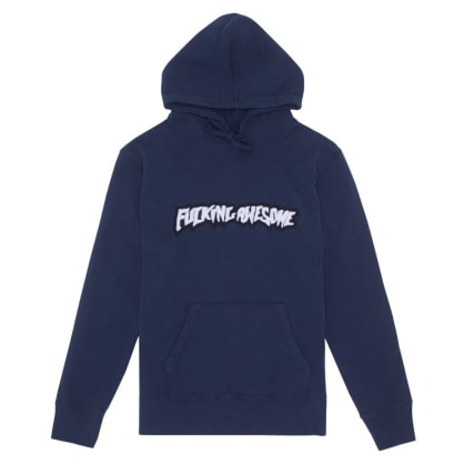 Fucking Awesome Garment Dyed Chenille Logo Hoodie - Navy