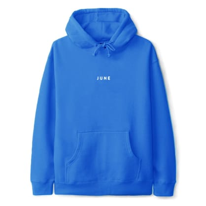 June - 'PUFF!' Mens Hood - Electric Blue, White