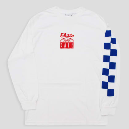 Skateboard Cafe Check LS T-Shirt White