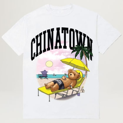 Chinatown Market Smiley Beach Bear Tee (White)