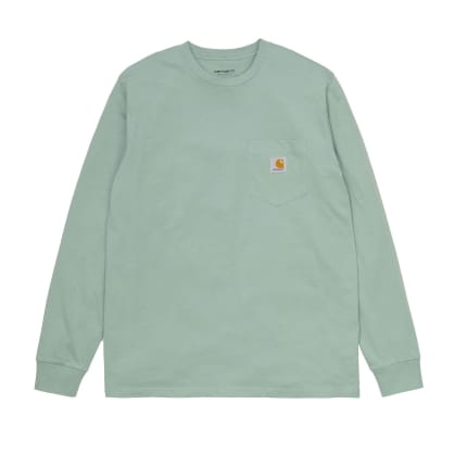 Carhartt WIP Long Sleeve Pocket T-Shirt - Frosted Green