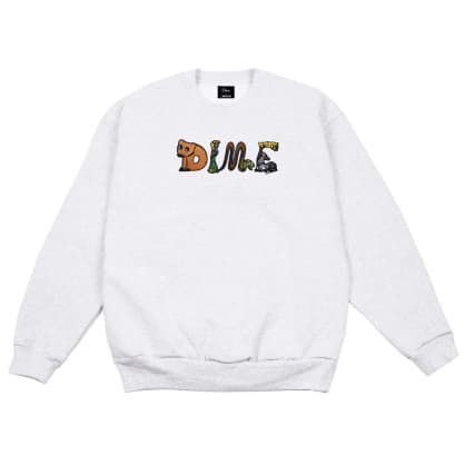 Dime Zoo Embroidered Crewneck - Ash
