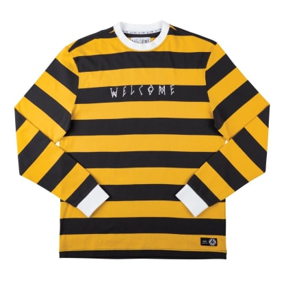 Welcome Skateboards Big Beautiful Stripe Long Sleeve Knit - Black / Gold