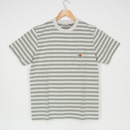 Carhartt WIP - Scotty Striped Pocket T-Shirt - White Heather / Grey Heather