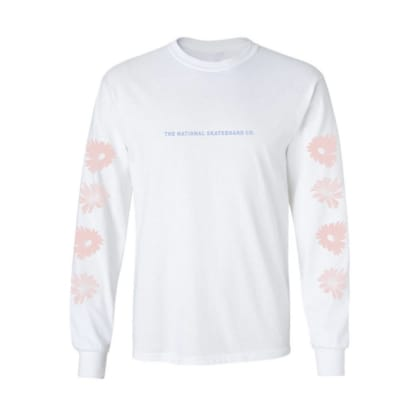 The National Skateboard Co. Flowers Long Sleeve T-Shirt - White - Pink