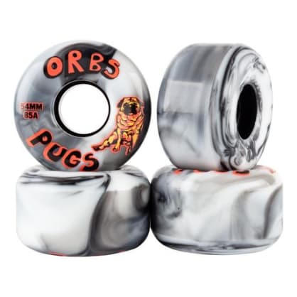 Welcome Skateboards Orbs Pugs - 85A Soft Black/White Split Skateboard Wheels - 54mm