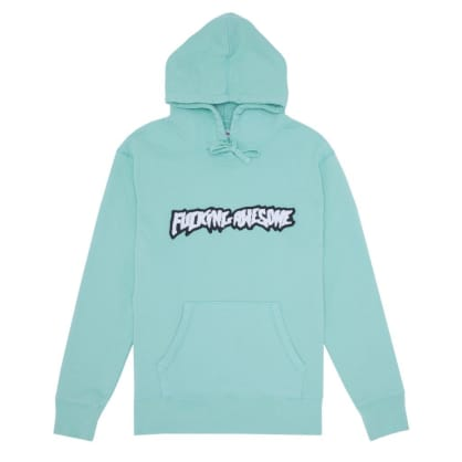 Fucking Awesome Garment Dyed Chenille Logo Hoodie - Seafoam