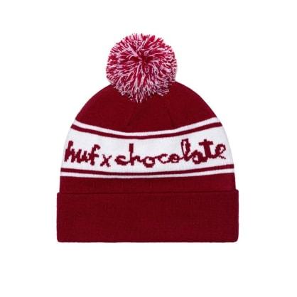 HUF X CHOCOLATE POM BEANIE - RED WHITE
