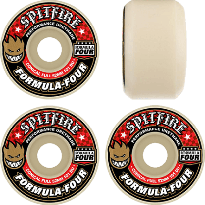 Spitfire - F4 101a Conical Full 53mm White/Red Wheels