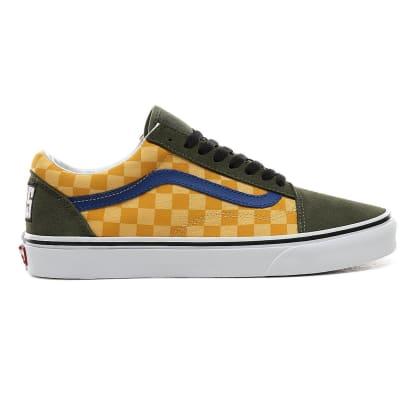 Vans OTW Rally Old Skool Skateboarding Shoes - Checker/Multicolour/Deep Lichen Green