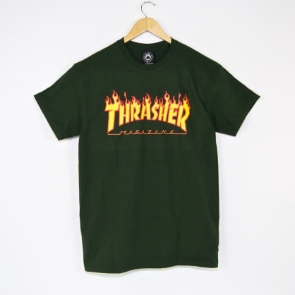 Thrasher - Flame Logo T-Shirt - Forest Green