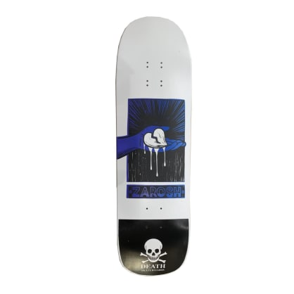 Death Skateboards Zarosh Hand Screened Heart White/Blue Skateboard Deck - 9.00