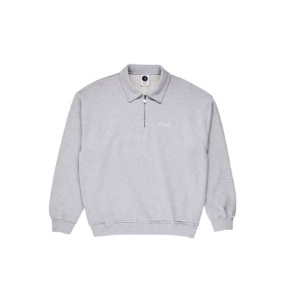 Polar Skate Co Collar Zip Sweatshirt - Sport Grey