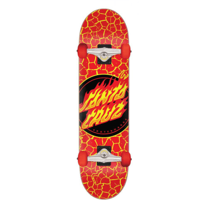 "Santa Cruz - 8.25"" Flame Dot Complete Skateboard - Red"
