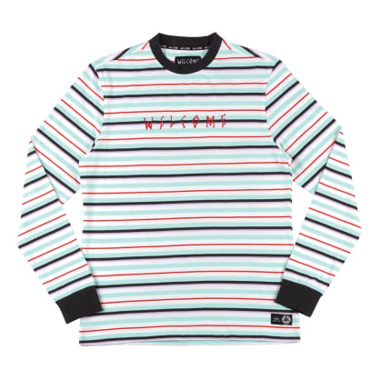 Welcome Surf Stripe Longsleeve T-Shirt - White-Red