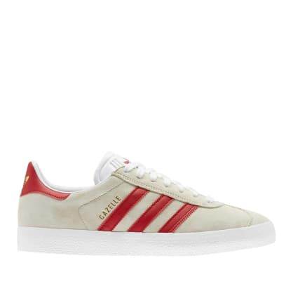 adidas Skateboarding Gazelle ADV Shoes - FTWR White / Scarlet / Gold Met