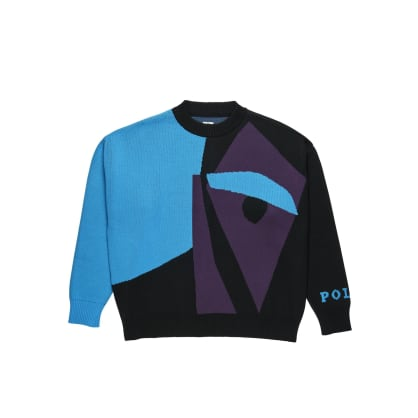 Polar Skate Co Selfie Knit Sweater - Black / Blue / Purple