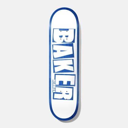 Baker Skateboards Herman Brand Name White / Blue Skateboard Deck - 8""