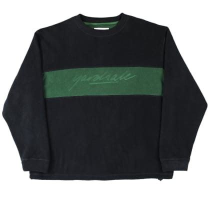 Yardsale Embossed Fleece Crewneck - Black / Forest Green