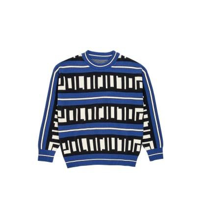 Polar Skate Co Square Logo Knitted Sweater - Blue / Black / Ivory