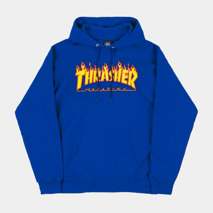 Thrasher Flame Logo Hoody Royal Blue