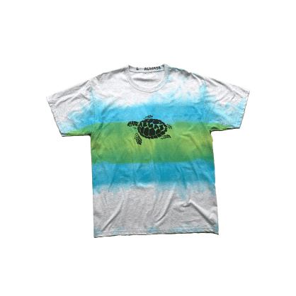 always do what you should do turtle hand dye T-Shirt - Blue Green