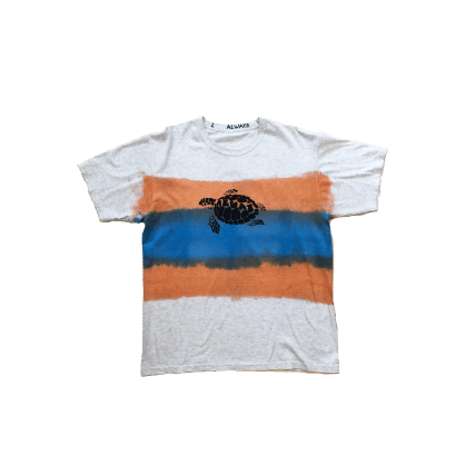 always do what you should do turtle hand dye T-Shirt - Orange Blue