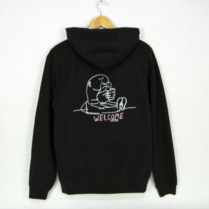 Welcome Skate Store - Gonz Pullover Hooded Sweatshirt - Black / White / Pink