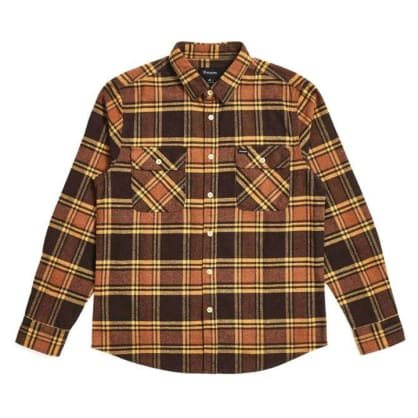 Brixton - Bowery L/S Flannel Shirt - Brown / Gold