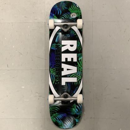 Real Skateboards Oval Logo Green Leaves Complete 8.0 Large
