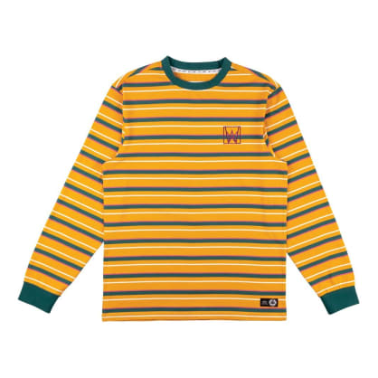 Welcome Skateboards Icon Stripe Long Sleeve Knit - Gold / Dusty Teal / Rose