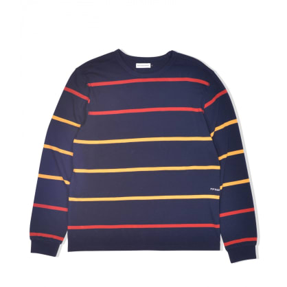 POP Trading Company Logo Striped Long Sleeve - Navy / Red / Yellow