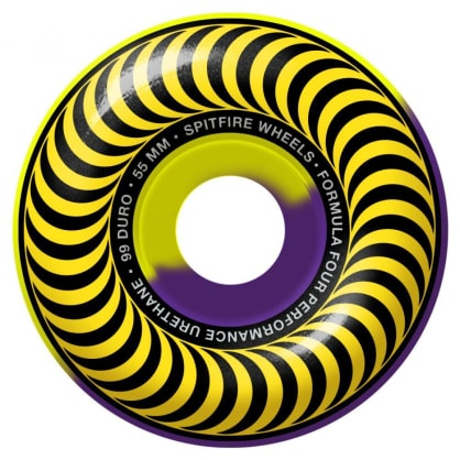 Spitfire Formula Four Classic 50/50 Swirl Wheels Yellow/Purple 99DU 55mm