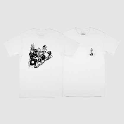 "PASS~PORT - ""DUCKS IN A ROW POCKET T-SHIRT"" (WHITE)"