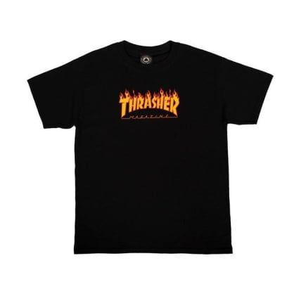 THRASHER Youth Flame Logo Tee Black