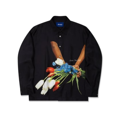 Awake NY Flowers Silk Shirt (Black)
