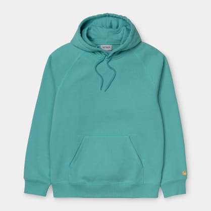 Carhartt WIP Hooded Chase Sweatshirt - Frosted Turquoise/Gold