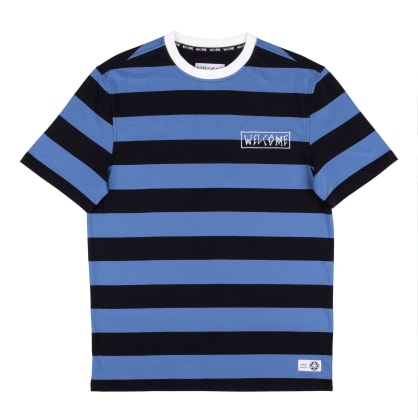 Welcome Skateboards Thicc Stripe Yarn Dyed Knit T-Shirt - Blue / Black