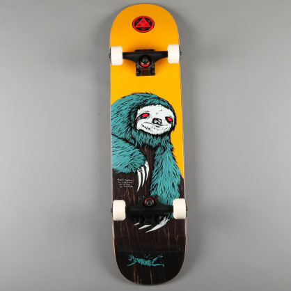 """Welcome 'Sloth on Scaled Down Bunyip' 7.75"""" Complete Skateboard (Gold / Black Stain)"""