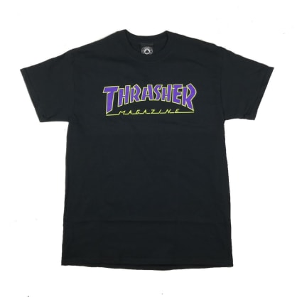Thrasher Outlined T-Shirt - Black / Purple