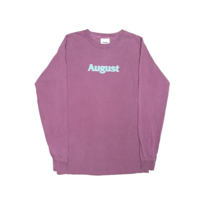 August Puff Print Logo L/S T-Shirt (Wine/Turquoise)