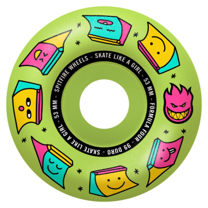 Spitfire - 53mm (99a) Skate Like A Girl Formula Four Skateboard Wheels - Glow